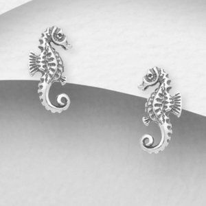 925 Sterling Silver Oxidized Seahorse Earrings